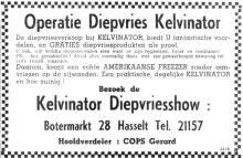 Advertentie 'Kelvinator - dealer: Gerard Cops', Botermarkt 28 (uit: Het Belang van Limburg, 24-11-1961, p. 13)
