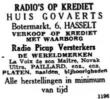Advertentie 'Huis Govaerts', Botermarkt 6 (uit: Het Belang van Limburg, 13-05-1946, p. 8)