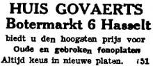 Advertentie 'Huis Govaerts', Botermarkt 6 (uit: Het Belang van Limburg, 18-01-1945, p. 2)