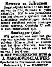 Advertentie 'Huis J. Manshoven-Clauwers', Botermarkt 7 (uit: Het Belang van Limburg, 20-02-1949, p. 6)