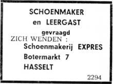 Advertentie 'Schoenmakerij Expres', Botermarkt 7 (uit: Het Belang van Limburg, 20-03-1965, p. 10)
