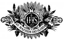 Tot meerdere glorie van God (devies van de jezuïetenorde) (uit titelblad 'Catalogus Provinciae Belgicae Societatis Jesu inuente Anno MDCCCXCIII, Leopoldus Delvaux, Preapositis Provincialis, Brussel, 1892')