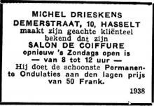 Advertentie 'Salon de Coiffure Michel Drieskens', Demerstraat 10 (uit: Het Belang van Limburg, 09-09-1934, p. 2)