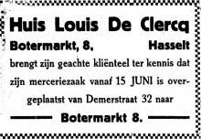 Advertentie 'Huis Louis De Clercq', Demerstraat 32 naar Botermarkt 8 (uit: Het Belang van Limburg, 15-06-1935, p. 7)