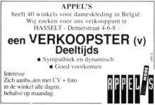 Advertentie 'Damesboetiek Appel's', Demerstraat 4-6-8 (uit: Het Belang van Limburg, 24-10-1998, p. 37)