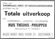 Advertentie 'Huis Theunis-Philippen - Totale uitverkoop', Demerstraat 9 (uit: Het Belang van Limburg, 04-12-1968, p. 9)