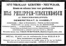 Advertentie 'Huis Philippen-Vinckenbosch (J. Theunis-Philippen)', Demerstraat 9 (uit: Het Algemeen Belang der Provincie Limburg, 08-12-1906, p. 7)