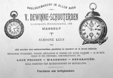 Porseleinkaart uurwerkmaker Victor Dewinne-Schouterden (collectie Het Stadsmus Hasselt)