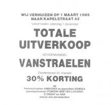 Advertentie 'Schoenhandel Vanstraelen', van Diesterstraat 22 naar Kapelstraat 42 (uit: Het Belang van Limburg, 04-12-1984, p. 5)