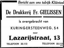 Advertentie overbrenging Drukkerij Gielissen van Kuringersteenweg naar Lazarijstraat (uit: Het Belang van Limburg, 27-07-1952, p. 4)