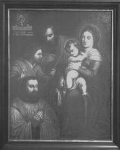 Schilderij 'Heilige Familie met de schenker Jan Frederici en zijn patroonheilige', 1633 (collectie grauwzusters Hasselt)