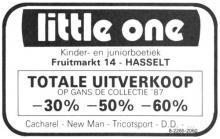 Advertentie 'Uitverkoop kinder- en jeugdboetiek Little One', Fruitmarkt 14 (uit: Het Belang van Limburg, 04-06-1987, p. 9)