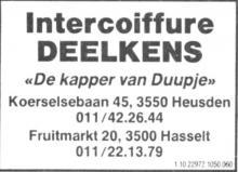 Advertentie 'Intercoiffure Deelkens', Fruitmarkt 20 (uit: Het Belang van Limburg, 03-10-1991, p. 28)