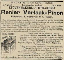 Advertentie 'Stovenmakerij-Slotmakerij Renier Verlaak-Pinon', Kiekenmarkt 3 & Aldestraat 17-19 (uit: Het Algemeen Belang der Provincie Limburg, 11-04-1906, p. 3)