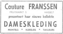 Advertentie 'Couture Franssen', Fruitmarkt 5 (uit: Het Belang van Limburg, 20-09-1967, p. 8)
