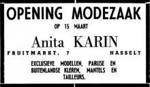 Advertentie 'Modezaak Anita Karin', Fruitmarkt 7 (uit: Het Belang van Limburg, 13-03-1960, p. 13)