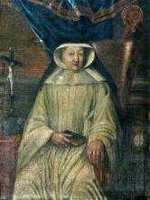 Olieverfportret Gertrudis de Mettecoven, abdis Herkenrode (1725-1728) (collectie Het Stadsmus Hasselt - buikleen kerkfabriek Sint-Gertrudis Kuringen)