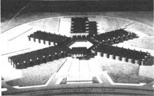 Dit is de maquette van de Grenslandhallen. Er is goede hoop dat de volgende jaarbeurs hier wordt gehouden maar... dan is er alvast bekwame spoed nodig. (uit: Grenslandhallen zijn er nog niet, maar Limburgse Jaarbeurs gaat door / (...) (1979))
