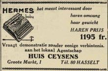 Advertentie 'Huis Ceysens', Grote Markt 1 (uit: Het Belang van Limburg, 19-03-1936, p. 7)
