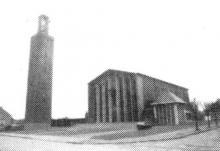 Provinciaal Heiligdom Heilig Hart / Heilig Hartkerk, Plantenstraat (uit: Inventaris van het cultuurbezit in België (1981), fig. 575 - Frieda Schlusmans, 1975 - Vlaamse Gemeenschap)