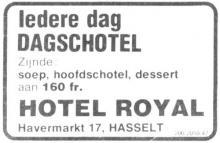Advertentie 'Hotel Royal', Havermarkt 17 (uit: Het Belang van Limburg, 14-01-1980, p. 24)