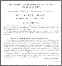 Advertentie 'Opening Veilingzaal Royal', Havermarkt 17 (uit: Het Belang van Limburg, 20-10-1978, p. 12)