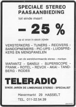 Advertentie 'Teleradio, Havermarkt 29' (uit: Het Belang van Limburg, 14-03-1975, p. 24)