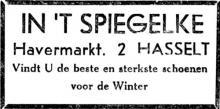 Advertentie 'Schoenhandel In 't Spiegelke', Havermarkt 2 (uit: Het Belang van Limburg, 25-12-1952, p. 11)