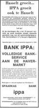 Advertentie 'Spaarkas Bank Ippa', Havermarkt 7-9 (uit: Het Belang van Limburg, 09-01-1974, p. 13)