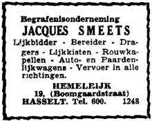 Advertentie 'Begrafenisonderneming Jacques Smeets', Hemelrijk 19 (uit: Het Belang van Limburg, 13-03-1949, p. 4)