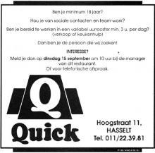 Advertentie 'Quick', Hoogstraat 11 (uit: Het Belang van Limburg, 12-09-1992, p. 36)