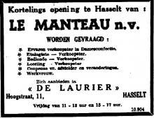 Advertentie 'Kortelings opening Le Manteau - Zich aanbieden in De Laurier, Hoogstraat 11' (uit: Het Belang van Limburg, 03-12-1953, p. 10)