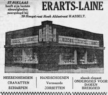 Advertentie 'Huis Erarts-Lainé', Hoogstraat 18 (uit: Het Belang van Limburg, 30-11-1935, p. 7)