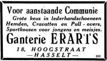 Advertentie 'Ganterie Erarts', Hoogstraat 18 (uit: Het Belang van Limburg, 21-03-1954, p. 6)