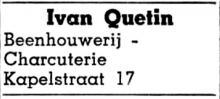 Advertentie 'Beenhouwerij Ivan Quetin', Kapelstraat 17 (uit: Het Belang van Limburg, 20-12-1959, p. 13)