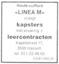 Advertentie 'Coiffure Linea-M', Kapelstraat 17 (uit: Het Belang van Limburg, 21-06-1986, p. 21)