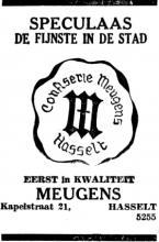 Advertentie 'Confisserie Meugens', Kapelstraat 21 (uit: Het Belang van Limburg, 03-12-1956, p. 2)