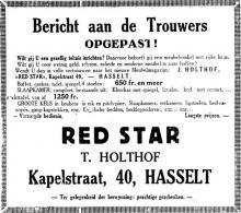 Advertentie 'Meubelwinkel Red Star - T. Holthof', Kapelstraat 40 (uit: Het Belang van Limburg, 07-09-1933, p. 4)