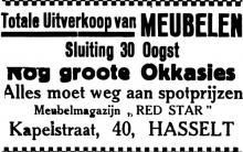 Advertentie 'Meubelwinkel Red Star - Totale uitverkoop', Kapelstraat 40 (uit: Het Belang van Limburg, 25-08-1935, p. 7)