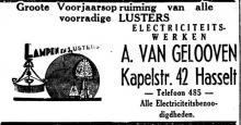 Advertentie 'Electriciteitswerken A. van Gelooven', Kapelstraat 42 (uit: Het Belang van Limburg, 19-03-1938, p. 6)