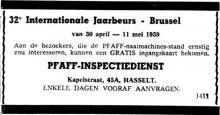 Advertentie 'Pfaff-Inspectiedienst', Kapelstraat 45A (uit: Het Belang van Limburg, 12-04-1959, p. 8)