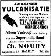 Advertentie 'Autobanden e.a. Ch. Noury', Kapelstraat 53 (uit: Het Belang van Limburg, 18-05-1935, p. 6)