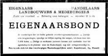 Advertentie 'Maatschappelijke zetel Eigenaarsbond', Kapelstraat 59 (uit: Het Algemeen Belang der Provincie Limburg, 17-08-1924, p. 5)