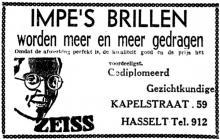 Advertentie 'Impe's Brillen', Kapelstraat 59 (uit: Het Belang van Limburg, 14-04-1940, p. 5)