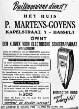 Advertentie 'P. Martens-Goyens', Kapelstraat 7 (uit: Het Belang van Limburg, 05-05-1950, p. 6)