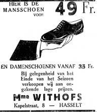 Advertentie 'Schoenhandel Withofs', Kapelstraat 8 (uit: Het Belang van Limburg, 06-07-1933, p. 4)