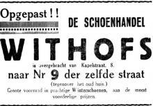 Advertentie 'Schoenhandel Withofs', Kapelstraat 9 (uit: Het Belang van Limburg, 06-10-1935, p. 2)