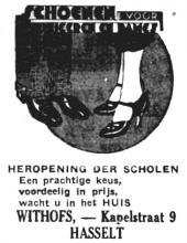 Advertentie 'Schoenhandel Withofs', Kapelstraat 9 (uit: Het Belang van Limburg, 15-09-1935, p. 2)