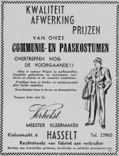 Advertentie 'Meester-kleermaker Verhelst', Kiekenmarkt 6 (uit: Het Belang van Limburg, 06-04-1952, p. 10)