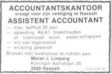 Advertentie 'Accountantskantoor Moret & Limperg', Koningin Astridlaan 35 (uit: Het Belang van Limburg, 11-12-1976, p. 28)